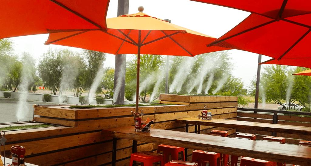 hệ thống phun sương tại các quán ăn